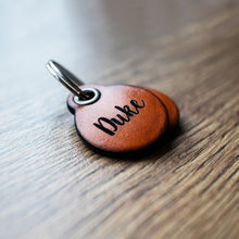 Load image into Gallery viewer, Saddle tan - miniature double personalised leather dog tag