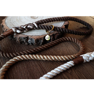 Caramel latte - Brown ombré luxury personalised 100% cotton rope lead/leash
