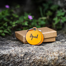 Load image into Gallery viewer, Mustard yellow - double personalised leather dog tag