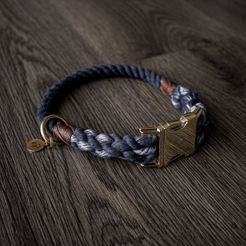 Charcoal grey - luxury 100% cotton rope collar with treat bag and charm