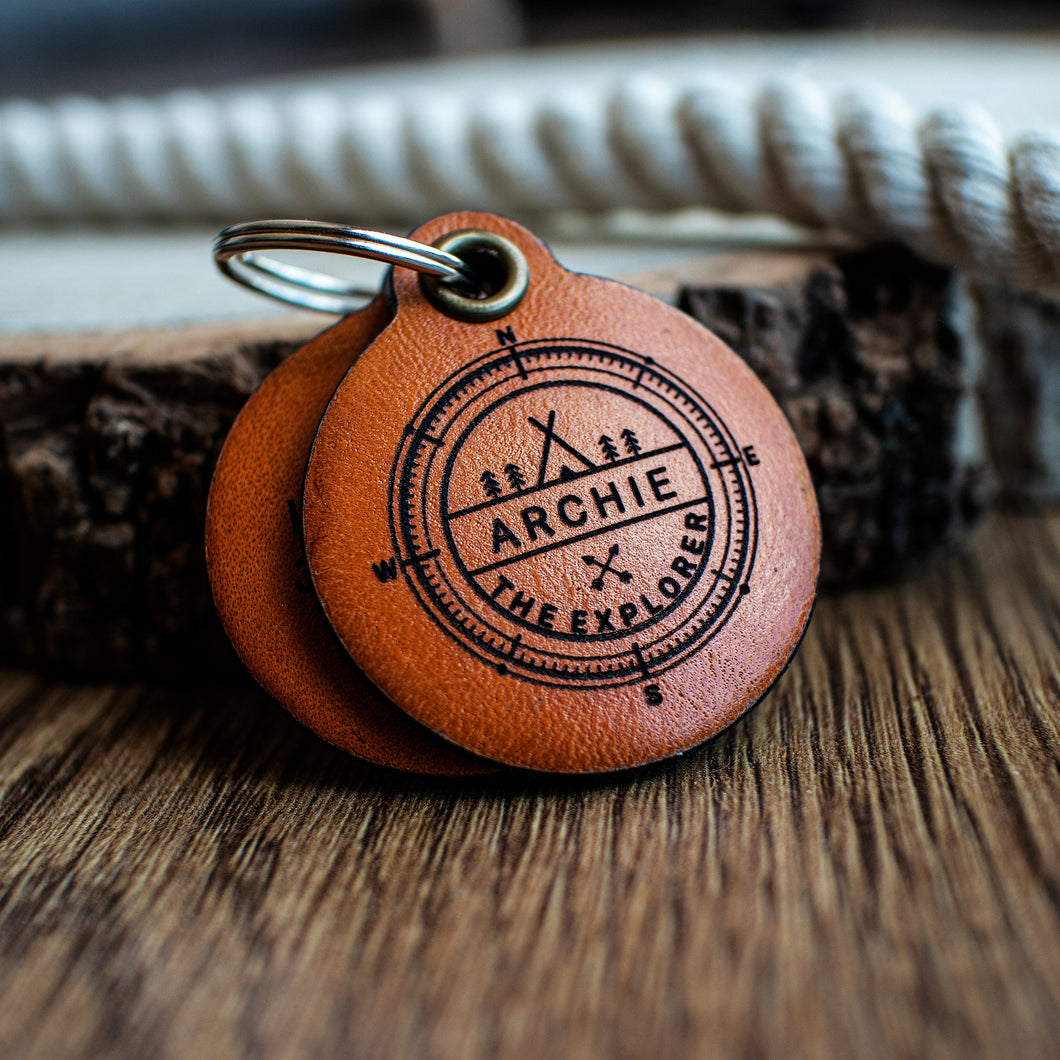 Explorer themed - saddle tan leather - double personalised dog tag