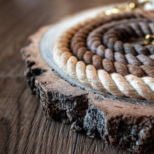 Load image into Gallery viewer, Caramel latte - Brown ombré luxury personalised 100% cotton rope lead/leash