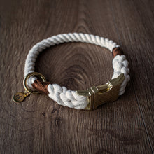 Load image into Gallery viewer, Classic - Luxury 100% cotton rope collar with treat bag and charm
