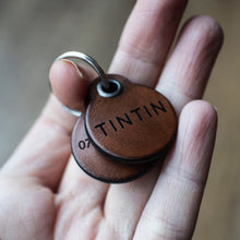 Load image into Gallery viewer, Dark brown - miniature double personalised leather dog tag