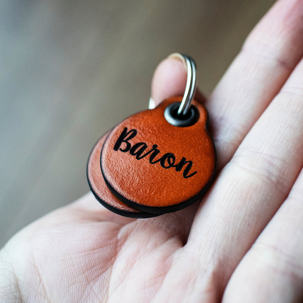 Saddle tan - miniature double personalised leather dog tag