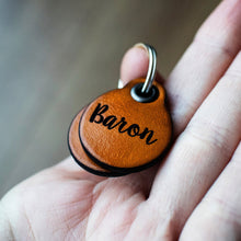 Load image into Gallery viewer, Mustard yellow - miniature double personalised leather dog tag