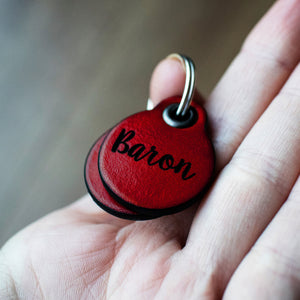 Berry red - miniature double personalised leather dog tag