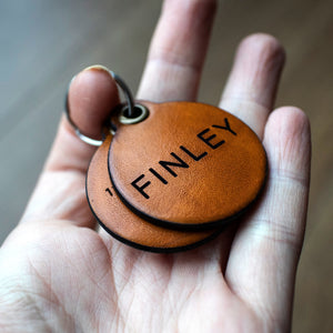 Mustard yellow - double personalised leather dog tag