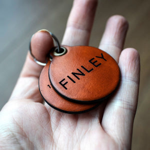 Saddle tan - double personalised leather dog tag