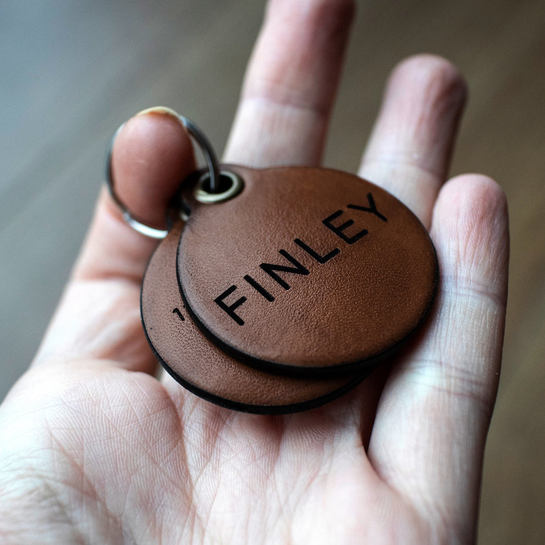 Dark brown - Double personalised leather dog tag