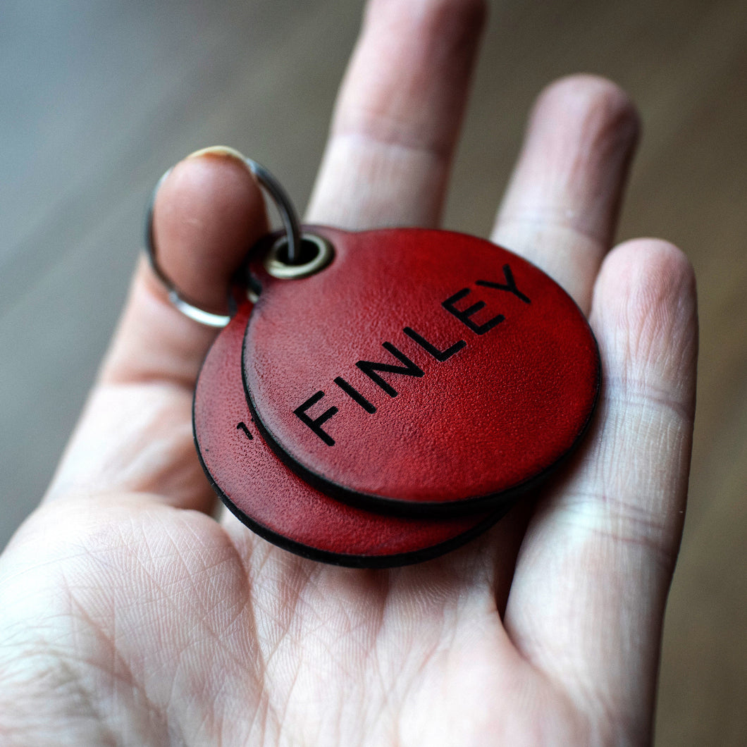 Berry red - double personalised leather dog tag