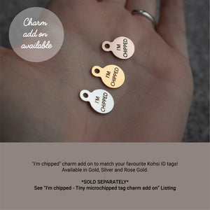 Miniature sweet as can be - saddle tan leather - double personalised dog tag