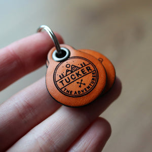Miniature adventure themed - saddle tan leather - double personalised dog tag