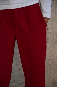 Pantalon large rouge bordeaux Adama Paris