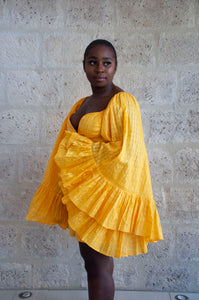 Yellow heart 2 - Robe courte cache coeur jaune - Adama Paris