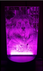 LED Photo Engraving  of dog from cell phone picture