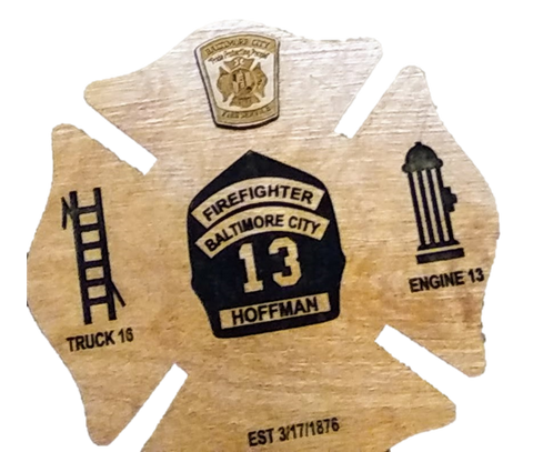 Laser engraved personalized fireman maltese cross plaque