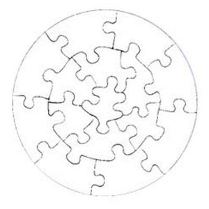 "DyeTrans Sublimation Blank Cardboard Puzzle - 7.25"" Round - 15 Pieces - Gloss White - 10 Pack"