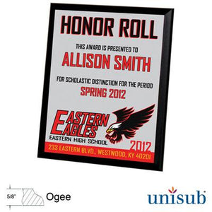 "Unisub Sublimation Blank MDF Plaque - 8"" x 10"" - Black Ogee Edge"