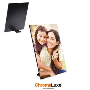 "ChromaLuxe Sublimation Blank Hardboard Photo Panel - 5"" x 7"" - Gloss White w/Kickstand Easel"