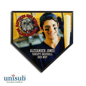 "Unisub Sublimation Blank MDF Plaque - 6"" x 6"" - Home Plate - Black Beveled Edge"