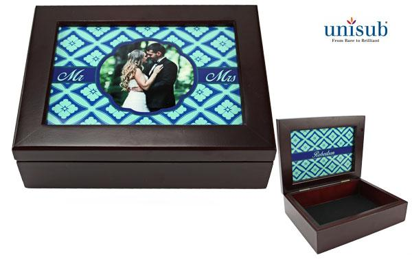 discontinued - Unisub Sublimation Blank Mahogany Finish Keepsake Box w/2-Sided Aluminum Insert
