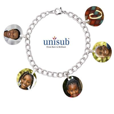Unisub Silver Plated Charm Bracelet w/5 Bales and 5 Circle Charms