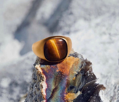 Tiger Eye Ring 925 Silber 18k vergoldet Gr.56