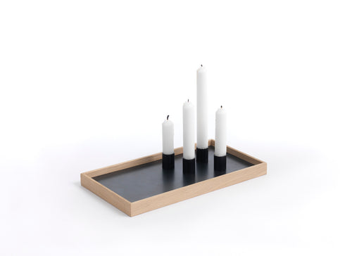 Candle Tray - Oak/Black