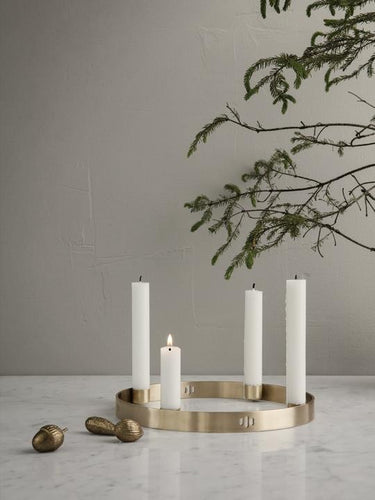 Candle Holder Circle Small Brass