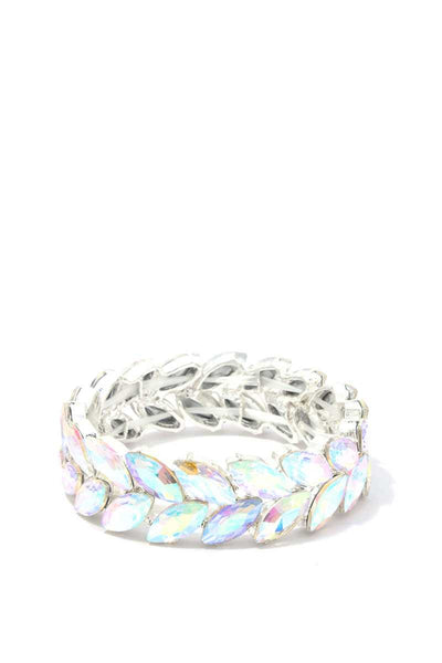 Marquise Shape Rhinestone Stretch Bracelet Available in Various Colors - Teal Pineapple Boutique