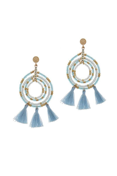 Tassel Beaded Circle Earrings Set in Multiple Colors - Teal Pineapple Boutique