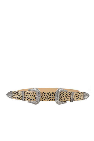 Leopard Animal Print Double Buckle Belt in Beige or White - Teal Pineapple Boutique