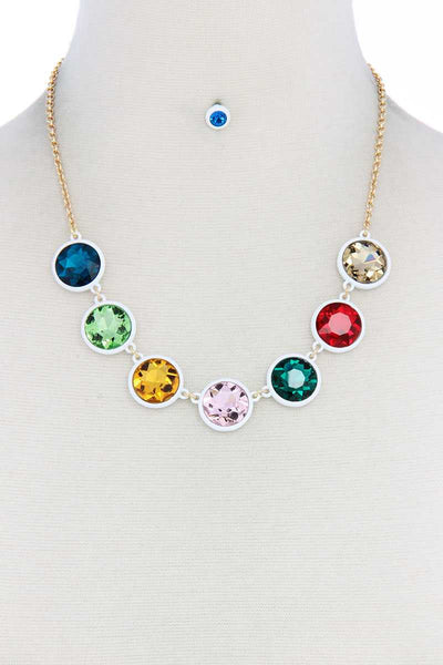 Round Shape Rhinestone Crystal Necklace and Earrings Set Multi Colors Available - Teal Pineapple Boutique