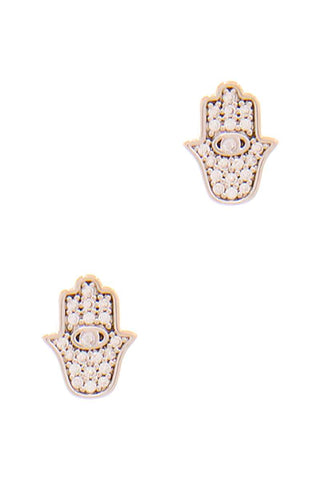 Hamsa Hand Rhinestone Stud Earrings Silver or Gold - Teal Pineapple Boutique