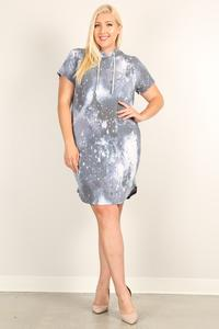 Plus Size Tie-dye Print Relaxed Fit Dress Navy