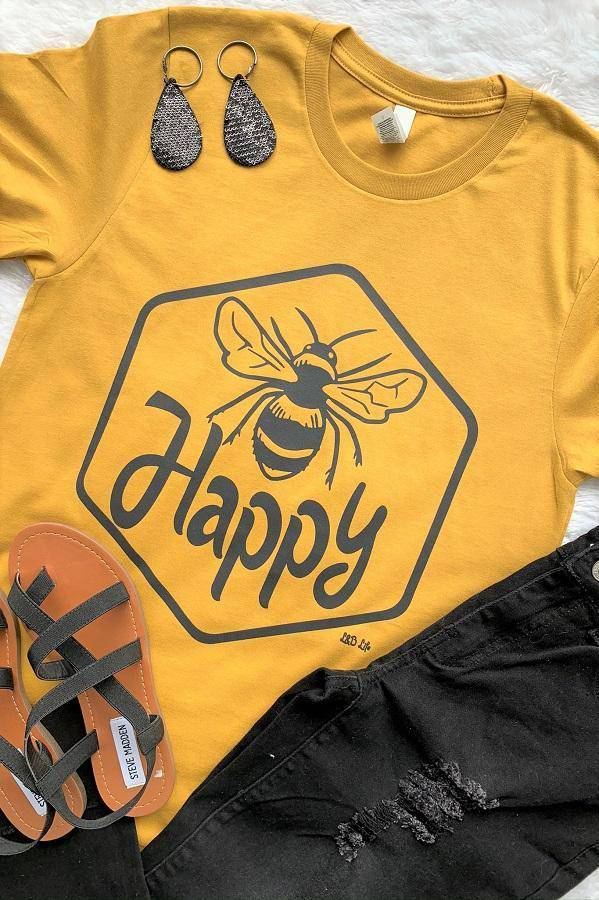 Bee Happy Bella Canvas Graphic Tee Shirt - Teal Pineapple Boutique
