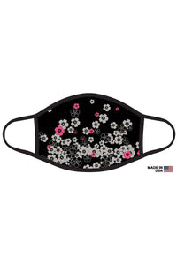 Black Pink Floral Tie Dye Graphic Printed Face Mask