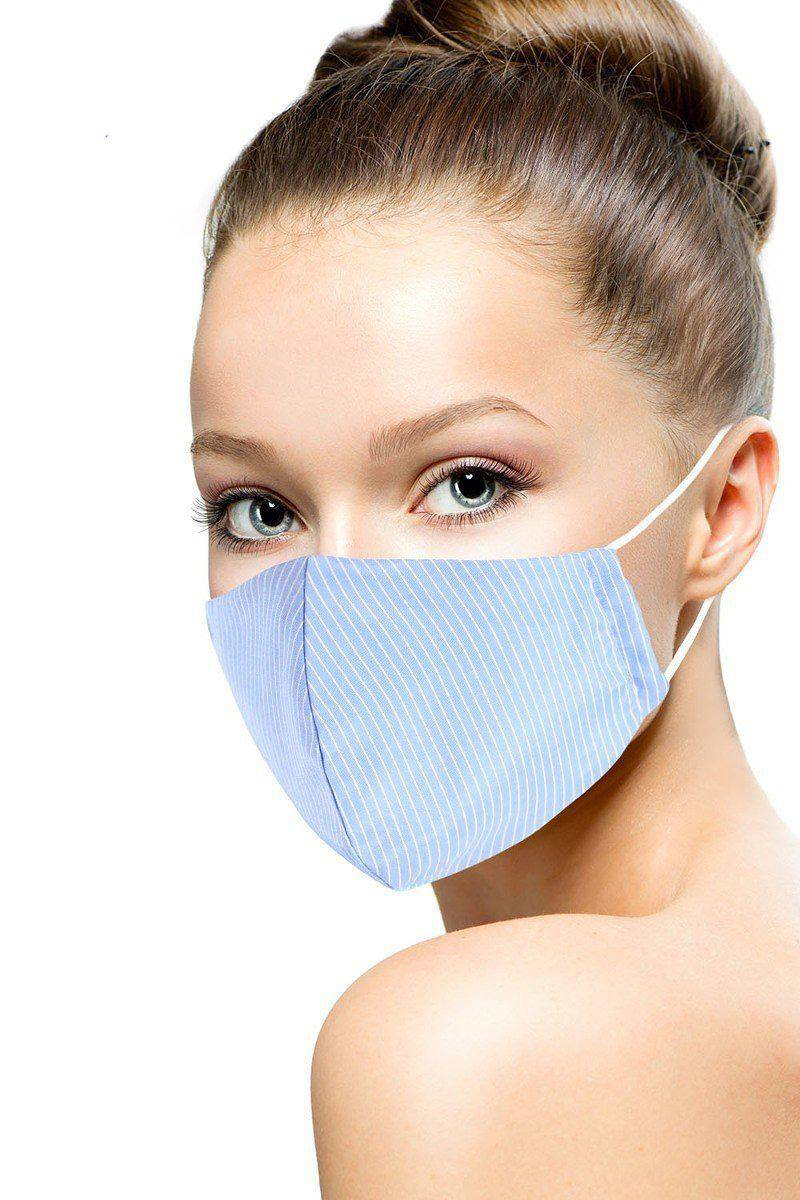 Blue Cotton Stripe Reusable Face Mask - Teal Pineapple Boutique