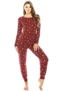 Burgundy Lightning Bolt 2pc Flannel Pj Pajama Set - Teal Pineapple Boutique
