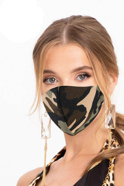 Camouflage Brown Green Reusable Water Resistant Face Mask - Teal Pineapple Boutique
