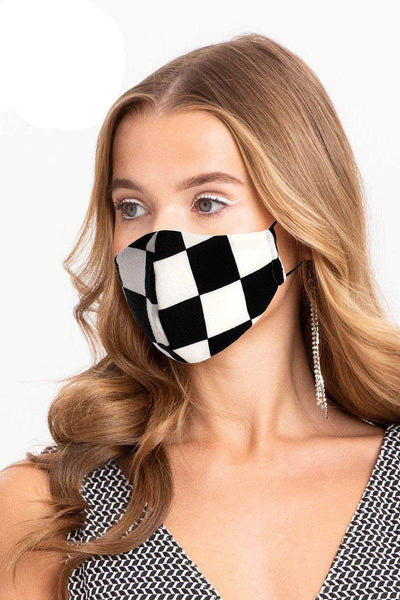 Checker Black White Reusable Water Resistant Face Mask - Teal Pineapple Boutique