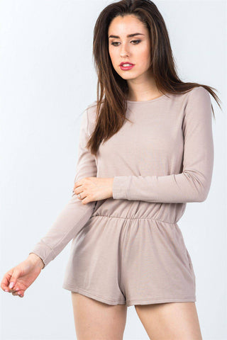 Comfy Tie-back Long Sleeve Romper in Taupe