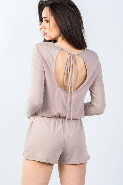 Comfy Tie-back Long Sleeve Romper in Taupe - Teal Pineapple Boutique