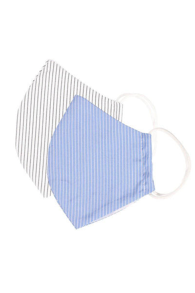 Cotton White Stripe Reusable Face Mask - Teal Pineapple Boutique