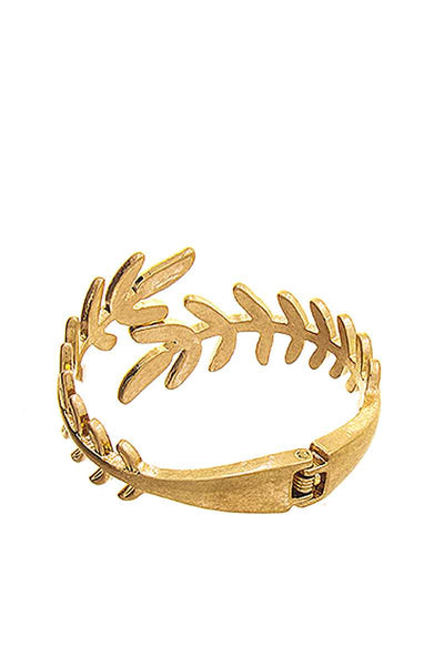 Designer Style Laurel Leaf Hinged Metal Bracelet