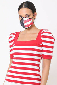 Distressed American Flag Double Layer Reusable Face Mask - Teal Pineapple Boutique