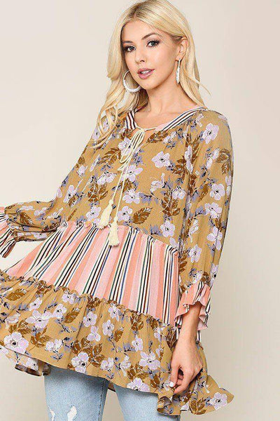 Floral and Stripe Pattern Tassel Tie Peasant Top in Mustard - Teal Pineapple Boutique