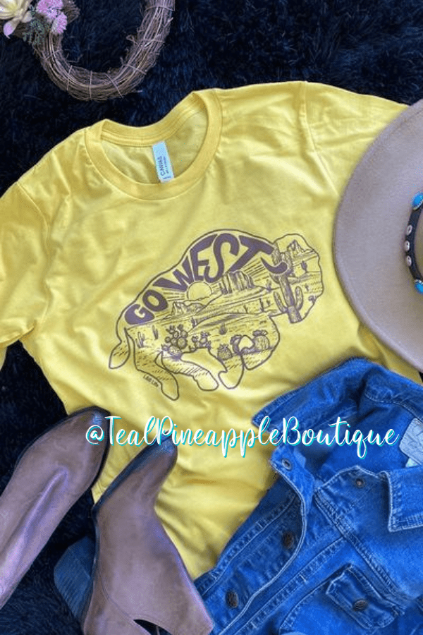 """ Go West Buffalo Cactus Desert "" Bella Canvas Graphic Tee Shirt - Teal Pineapple Boutique"