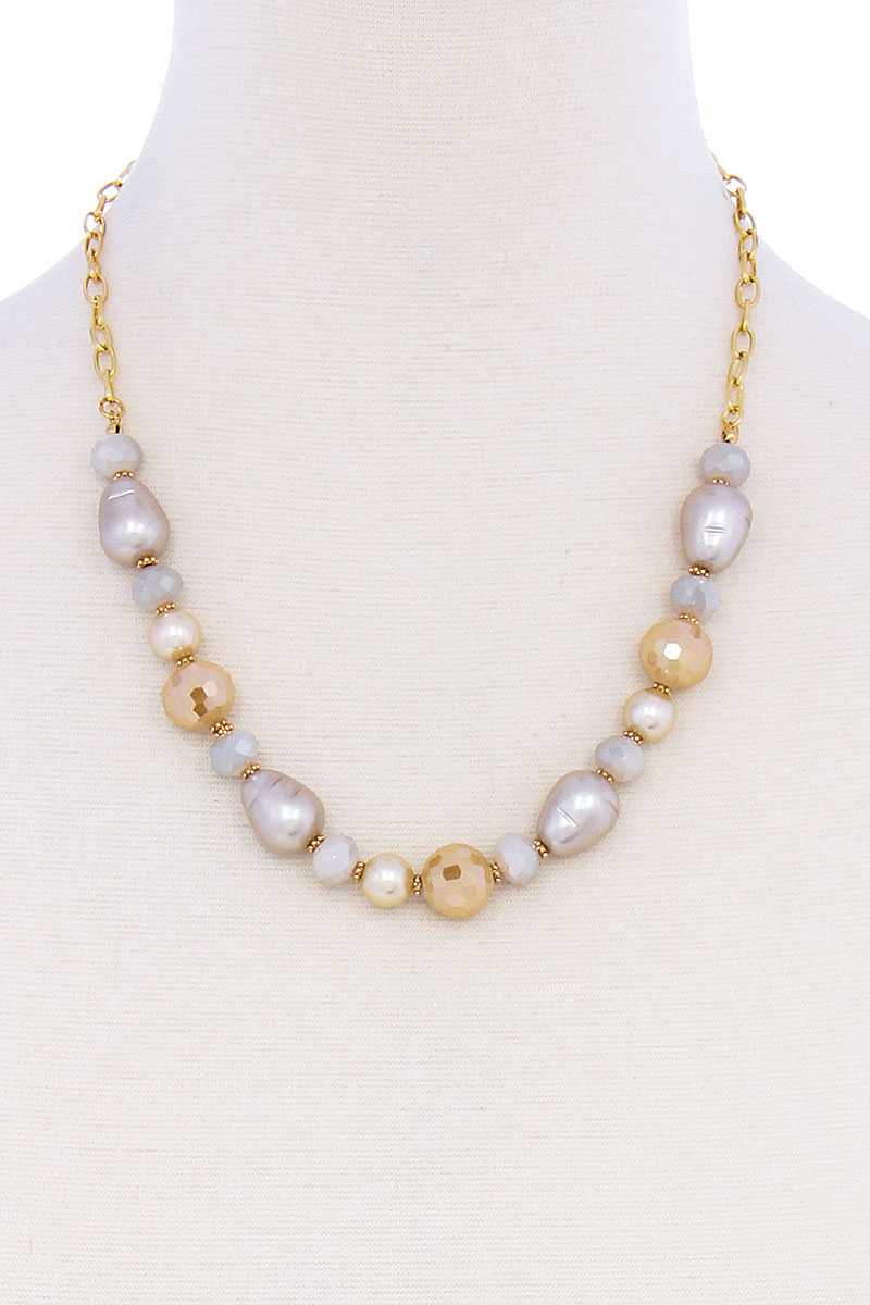 Gold Chain Modern Beaded Pearl Style Necklace in Various Colors - Teal Pineapple Boutique